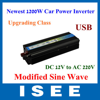 Upgrading Newest 1200W Modified Sine Wave Mobile  Car Power Inverter Adapter  DC 12V to AC 220V   Free Shipping
