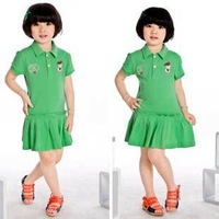 Hot Selling Free Shipping Kids Summer Dresses for Little Girls Leisure Mini Solid Color Dress K0385