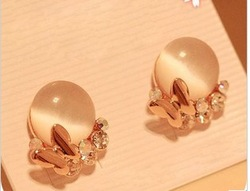 New Pink Simulated Gemstone Cat's Eye Butterfly Ear Stud Eardrop Earrings For Women 6g(China (Mainland))