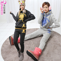 2013 spring women's new arrival fleece plus size stand collar sweatshirt set sports female casual wear