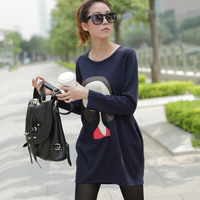 Spring plus size clothing sweatshirt female casual loose pullover medium-long long-sleeve sweatshirt female