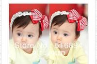 Spring baby girl headband Plaid hairband boutique accessories Infant kids headband Bowknot headwear 10pcs Free Shipping