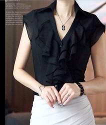 2013 chiffon shirt female plus size chiffon short-sleeve top ruffle women's professional shirt