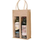 SIZE:35X20X10CM, 50PCS/LOT,,FREE SHIPPING,JUTE WINE BAG WITH COTTON HANLE,WE ARE FACTORY,CUSTOMIZED LOG AND BAG ACCEPTABLE,