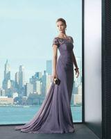 E0287 Long Elegant Chiffon With Lace Short Sleeve Arabic Evening Dress