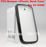 For Samsung Galaxy S3 I9300 TPU Edge PC Plastic Hard Back Crystal Black Case Galaxy