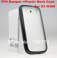 For Samsung Galaxy S3 I9300 TPU Edge PC Plastic Hard Back Crystal Black Case Galaxy