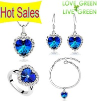 Free Shipping High Quality Austrian Element Crystal Ocean Heart Pendant Love Alloy Necklace EarringsBangle Ring Jewelry set 4018