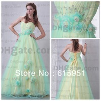 Multicolor sweetheart neckline with handamde flower full length one layer organza ball gown party dress prom dress JY396