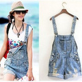 2013 trend denim roll-up hem suspenders shorts pants denim jumpsuit pants shorts  jeans overall pocket short romper pants ,cool