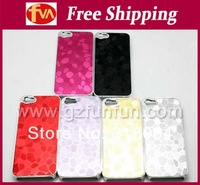 free DHL shipping cost PC hard case with chrome design & shinning PU coating for iphone 4/5 various colors  coating