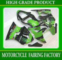 Freeship aftermarket for KAWASAKI ZX-6R 00-02 ABS plastic green/black racing motorcycle fairing kits ZX6R 2000-2002