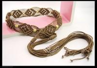 Rustic flavor bohemia national trend wax cord woven pattern women's belt belly chain waist decoration 063