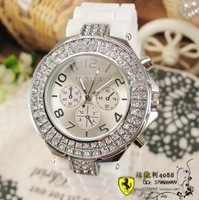 Popular rhinestone rubber mens watch ladies watch unisex table fashion casual fashion watches