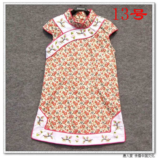 Child tang suit cheongsam dress female child cheongsam child costume 100% cotton cloth summer princess dress(China (Mainland))