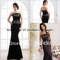 Mermaid style latest design formal evening gown Black Lace evening dress Real sample photos