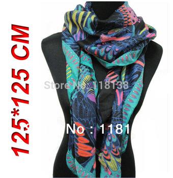 New Fashion Color Parrot Bird Print Ladies Scarf Shawl 125*125cm, Free Shipping