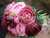 2 bundle Rose flower Korean Tea Rose hand bouquet Bride Handing flower for Wedding bridal in free shipping