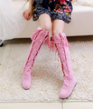Spring and autumn new arrival tassel boots single boots nubuck leather lacing flat high-leg boots plus size