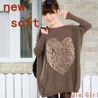 NEW spring acrylic casual full bat  long sleeve flower applique heart sweater plus size loose waist oversized pullover solid