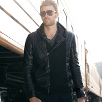 Free Shipping men's cultivate one's morality leisure splicing short black leather coat