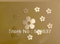 #20 five leaf flower mirror wall decor, home decor shining fashion wall sticker mirror wall stickers 20PCS/LOT, free shipping