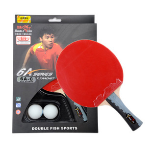 free shipping, 6A-C double fish 6 stars ping pong racket long shakehand paddle table tennis offensive racket ( TFTT-010)