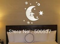 #27 Moon and star mirror wall decor,  pear mirror sticker home decor wall sticker mirror wall stickers 20PCS/LOT, free shipping