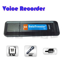 New U-Disk Digital Audio USB Flash Drive TF Card Slot Voice Recorder Pen Black