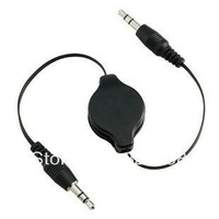 Free shipping higeh quality 3.5mm car audio cable stereo flexible connecting cord Retractable Auxiliary line for ipad mp3