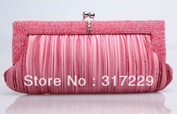 2013 New Fashion Woman Korean Noble Elegant Satin Fold Bride Clutch Evening Party Handbag BB016
