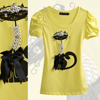 2013 summer slim cat short-sleeve handmade beading t-shirt plus size clothing t-shirt