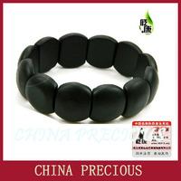 Free shipping 2013 wholesale & retail Hand row natural black brief elliptic stone needle bracelet /bian stone bracelet hand care