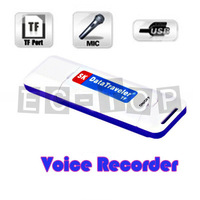 New U-Disk Digital Audio USB Flash Drive TF Card Slot Voice Recorder Pen White