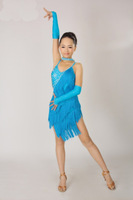 Fashion! 2013 new child Latin Tassel competition dress 3~15T Kid/girl Custom-sized dance costume with Rhinestone Mix color&size