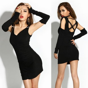 Sexy fashion queen of 2012 elegant sexy strapless V-neck patchwork 293 slim one-piece dress(China (Mainland))