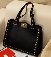 FREE SHIPPING!! General PU leather bag rivet women's handbag luggage shoulder bag handbag vintage bag