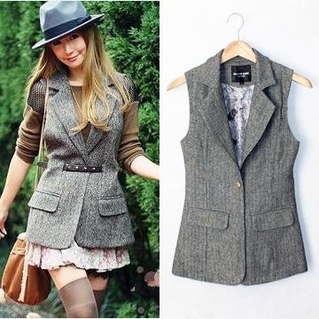 Vest female autumn and winter slim vest herringbone small suit vest