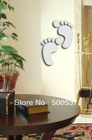 #41 foot print bedroom mirror wall decor, mirror sticker home decor wall sticker mirror wall stickers 20PCS/LOT free ship
