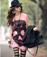 All-match fashion love big skull long design women t-shirts,Free shipping