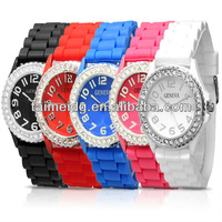 2013 Hot New Fashion geneva Lady brand Watch Crystal Silicone Geneva watch for women free Shipping