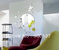 #43 Hot  fairy moon and star mirror wall decor, mirror sticker home decor wall sticker mirror wall stickers free ship