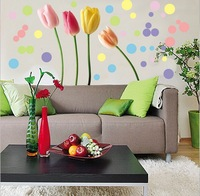 Free Shipping environmental wall stickers home background wallpaper tulip flower wall paint sticker