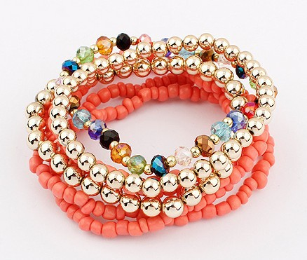 Free Shipping 2013 New Style Promotion Discount Fashion Bohemian Multi Layer Peach Beads Stretch Bracelets 95001(China (Mainland))
