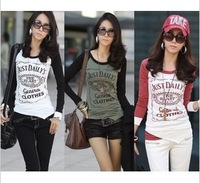 Free shipping Fashion women's T-shirt 2013 plus size S-4XL letter patchwork t-shirt long-sleeve basic shirt irregular tees
