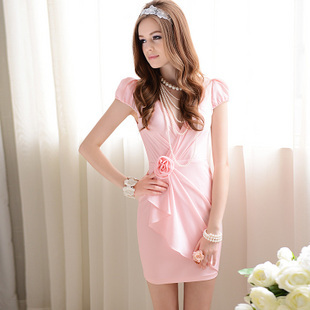 2013 summer female tight pleated pink chiffon dress elegant bubble short-sleeve ruffle dress with flower 10102(China (Mainland))