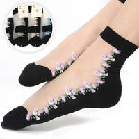 Free Shipping 2014 New Elegant Transparent Various Crystal Women's Socks Sunshine Girls Ladies Short Socks High Quality