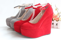 2012 ultra high heels ankle strap wedges pumps women's plus size shoes 41/42/43 free shipping