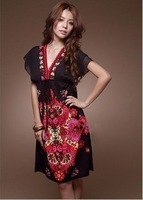2013 spring bohemia chiffon one-piece dress vintage V-neck batwing sleeve one-piece dress beach dress