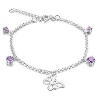 Free shipping Purple rhinestone cutout butterfly pendant silveriness 925 anklets women's foot chain anti-allergic adjustable
